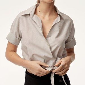 Aritzia Babaton grey striped cropped shirt